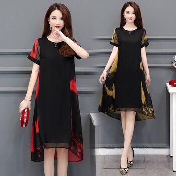HAYBLST Brand Dress Women's 2020 New Summer Plus Size Short Sleeves Elegant Clothes Loose Vestidos Korean Style Chiffon Clothing