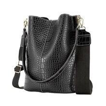 Sacs seau Vintage pour femmes, sac à bandoulière motif Crocodile, sacoche en cuir PU de qualité, grand fourre-tout Style populaire