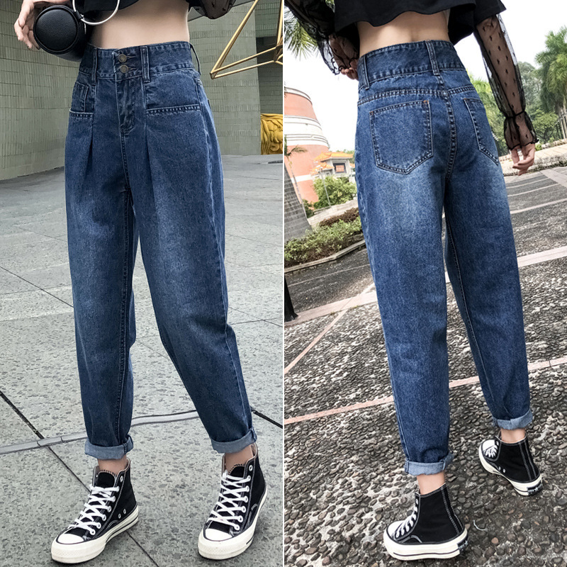 Vintage Two Buttons High Waist Boyfriend   Jeans   For Women Mom Loose Baggy Denim   Jeans   Woman Casual Harem Ankle Tapered Dad   Jeans