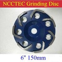 [V shape segments] 6'' Diamond floor grinding cup Wheels | 150mm Concrete surface grind discs | silver welding 7 V segments|Grinding Wheels| |  -
