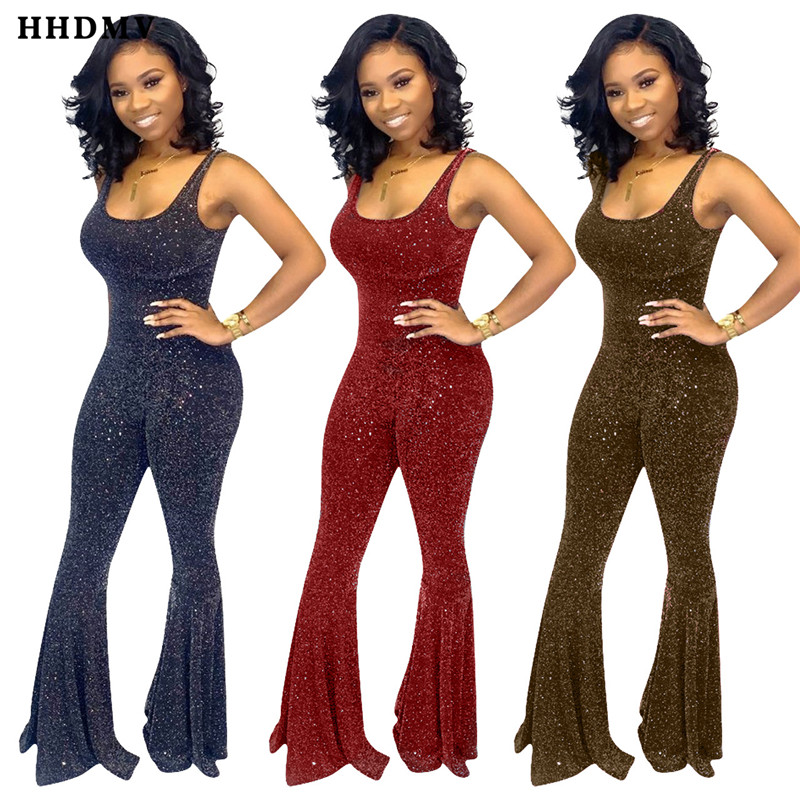 HHDMV ME321 sexy tight club style jumpsuits sleeveless round neck vest type appliques flared trousers jumpsuits long pants