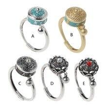 Anel de roda de oração tibetana budista anel de roda om mantra anel de dedo boa sorte lótus esmalte floral anel rotativo banda
