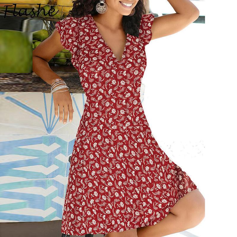 2021 Spring Summer Vintage Party Dress V Neck Elegant Sexy Dress Boho Beach Female Floral Print Dresses For Women Clothes
