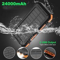 X-DRAGON-batería Solar portátil con brújula para teléfonos móviles, batería externa de 24000mAh, resistente al agua, 24000mAh