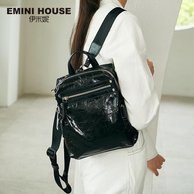 EMINI ev Punk tarzı kadın sırt çantası çoklu giyen yöntemleri kadın omuzdan askili çanta gençler için sırt çantaları kız çocuk okul çantası
