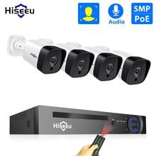 Hiseeu 8CH 5MP POE طقم NVR H.265 نظام الكاميرا الأمن الصوت سجل AI IP كاميرا في الهواء الطلق مقاوم للماء P2P مجموعة مراقبة الفيديو