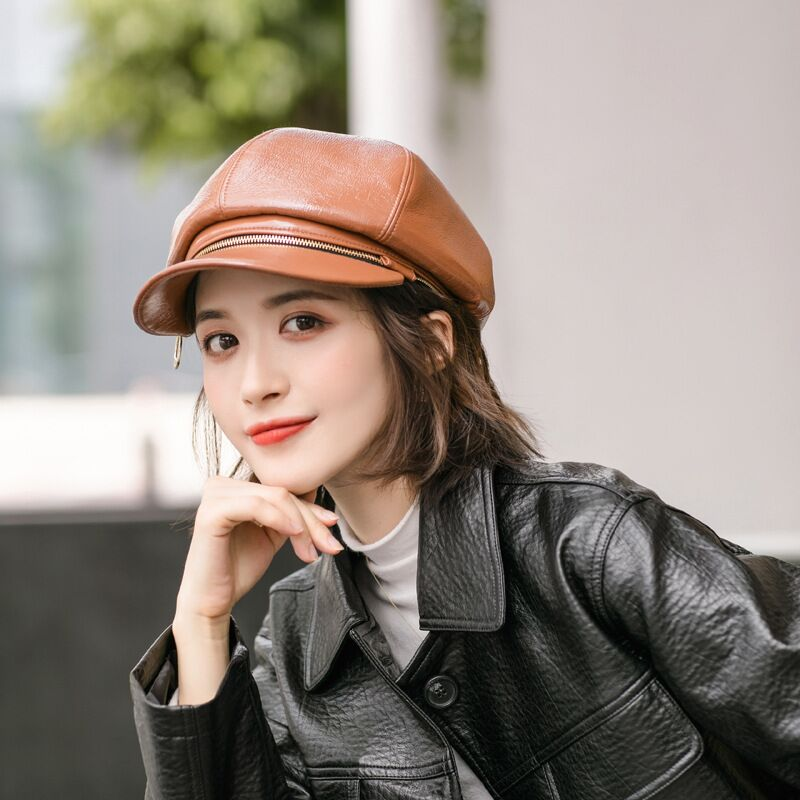 High Quality PU Leather Octagonal Hat For Women Autumn Winter Zipper Dual Purpose All-match Berets Female Painter Caps Chapeau