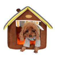 Dog House Striped Removable Cover Mat Dog Beds For Small Medium Dogs Pet Products House Pet Beds For Cat Velvet Warm KennelCC