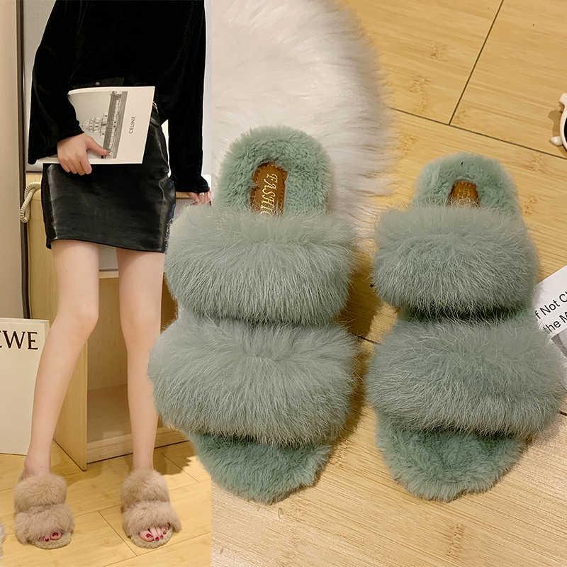 Şık tasarım kadınlar basit Faux kürk terlik marka kış artı kadife kadın Vintage yumuşak Flip Flop rahat açık tutmak sıcak ayakkabı
