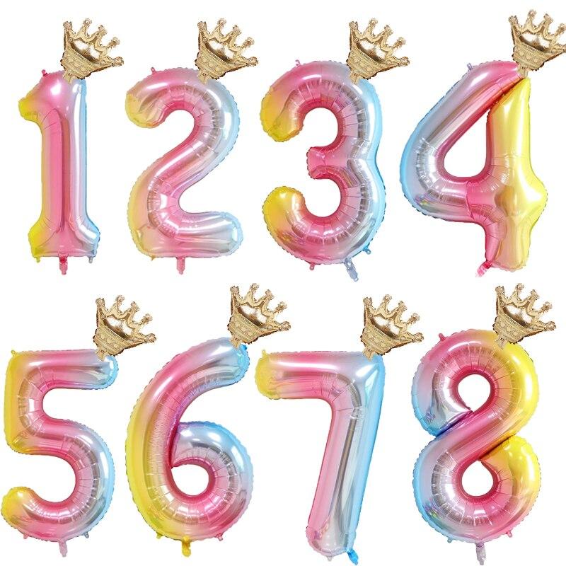 Фольгированные шары с цифрами, 1 комплект, 32 дюйма, для детей 1, 2, 3, 4, 5, 6 лет, для мальчиков и девочек, корона, украшение для дня рождения, праздн...