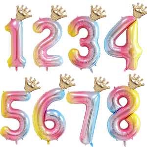 1set 32inch Number Foil Balloons 1 2 3 4 5 6 Years Old Kid Boys Girls Crown Happy Birthday Balloon Baby Shower Decor Supplies