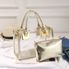 Summer Fashion Ladies Handbag PVC Transparent Bag Clear Shoulder Luxury Small Square High Quality Package Brand