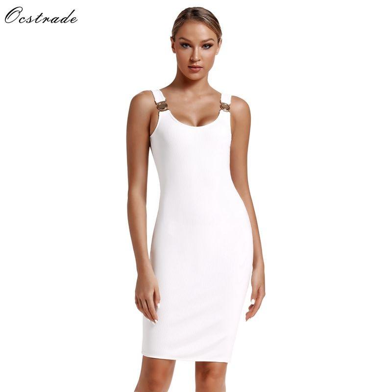 Ocstrade Luxury Women Bandage Dress 2019 New Arrivals Spaghetti Strap Rayon White XL Sexy Bodycon Dresses