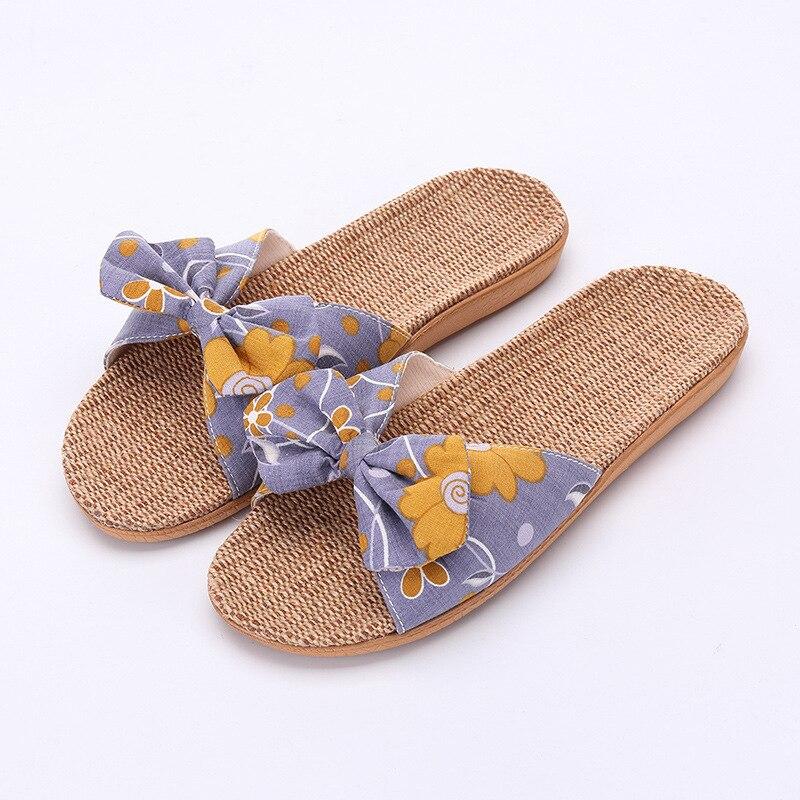 Women Summer Slides Comfortable Flax Slippers Striped Bow Linen Flip Flops Platform Sandals Ladies Indoor Casual House Shoes