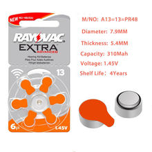Bateria extra do botão da pilha das baterias 13 a13 p13 e13 pr48 do cuidado da orelha do aparelho auditivo do desempenho do ar do zinco de 30 pces rayovac para aparelhos auditivos