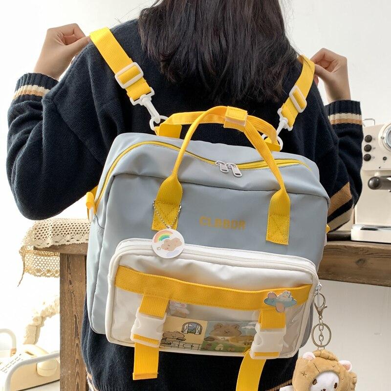 DCIMOR New Contrast Color Multifunction Waterproof Nylon Women Backpack Female Transparent Pocket Insert Buckle Small Schoolbag