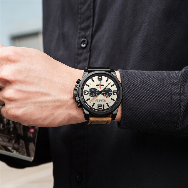 CURREN Luxury Military Waterproof Leather Sport Quartz Watch 4