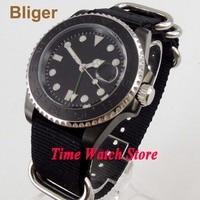 Bliger 40mm gmt 3804 pvd caso relógio automático masculino preto strile dial luminoso vidro de safira cerâmica moldura à prova dwaterproof água|Relógios mecânicos| |  -