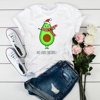 Womens Ladies Top Clothes T Tee Shirt Winter T-shirt Women Graphic Dog Funny Cartoon Cartoon Print Merry Christmas Tshirt Female
