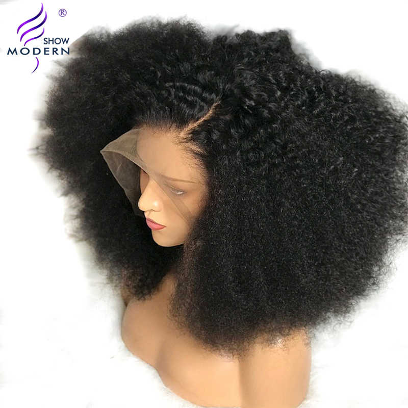 Modern Show Hair 13*4 Kinky Curly Lace Front Wigs with Baby Hair Mongolian Lace Front Human Hair Wigs 150%Density Remy Hair Wigs