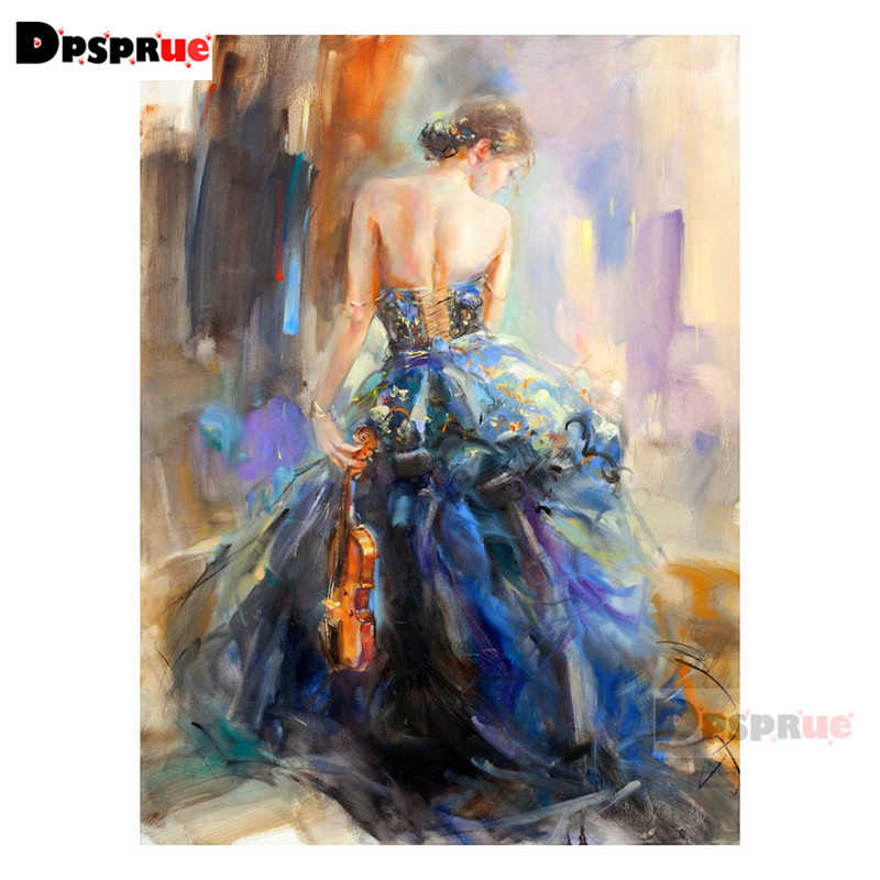 Dpsprue 전체 광장/라운드 다이아몬드 페인팅 크로스 스티치 롱 스커트 소녀 3d 자수 diy 5d moasic 홈 인테리어 선물 au02