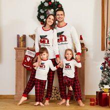 2020 automne hiver Parent-enfant joyeux noël famille chemise rayé pantalon Pyjamas costume mère fille père fils noël Pyjamas