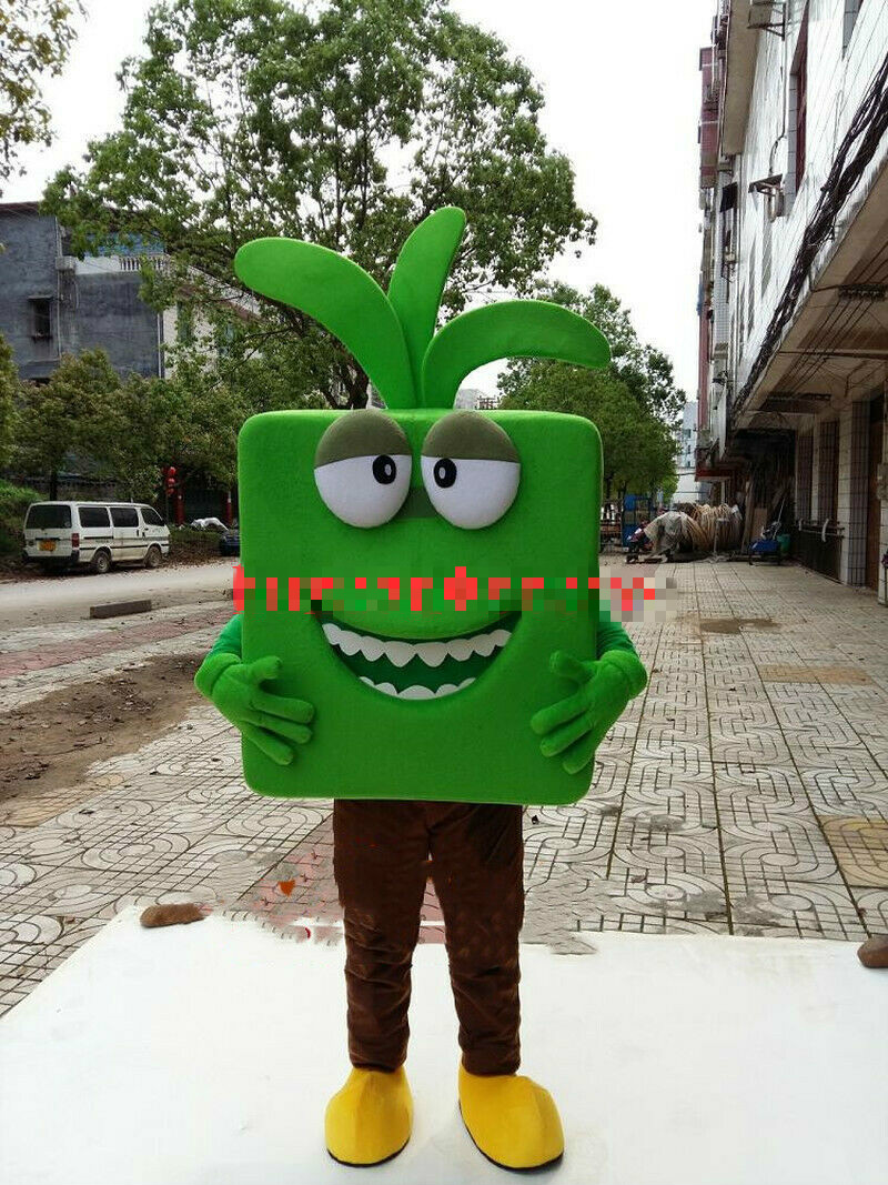 Green Flower Pot Mascot Costume Suits Cosplay Party Game Dress Outfits Clothing Apparel Cartoon Character Birthday Clothes Gift