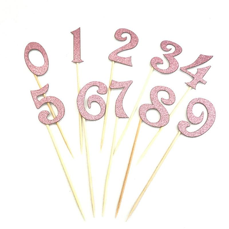 10ピース/セット番号パターンの誕生日ケーキトッパーアクリルゴールデン子供誕生日記念パーティーの装飾7色
