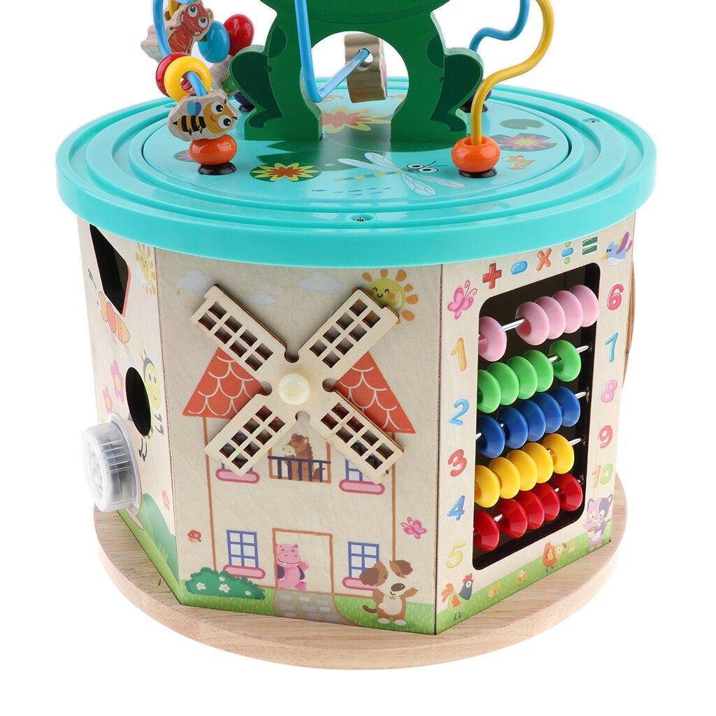 Cube d'activité en bois-labyrinthe de perles, jeu d'engrenages, trieur de formes, centre d'activités de jouets boulier pour enfants de 1 an + développement précoce - 6