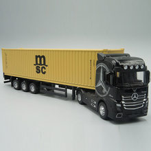 Camion conteneur Pull-Back en métal moulé sous pression 1:50, modèle jouet avec son et lumière