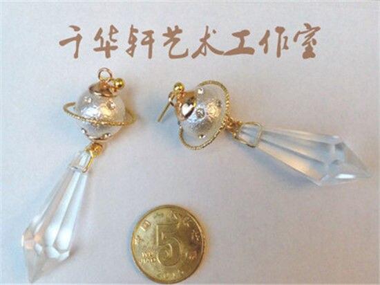 Cartoon Sailor Moon Handmade Shiny Saturn Black Lady 925 Silver Earring Ear Stud Cosplay Props Gift