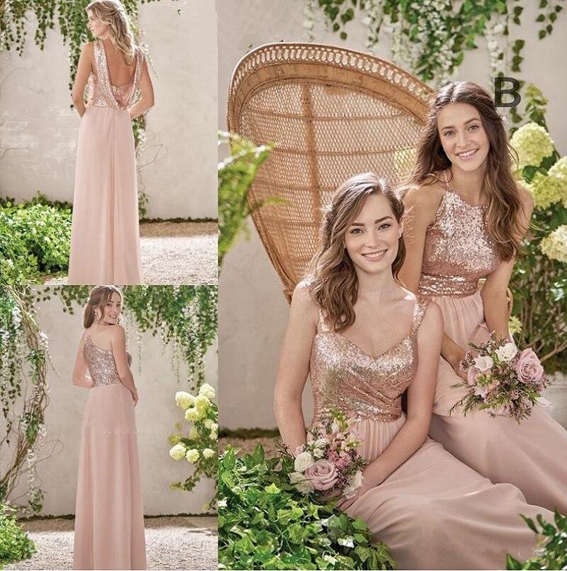 2020 Rose Gold Bridesmaid Dresses A Line Spaghetti Backless Sequins Chiffon Long Beach Wedding Gust Dress vestido de festa longo