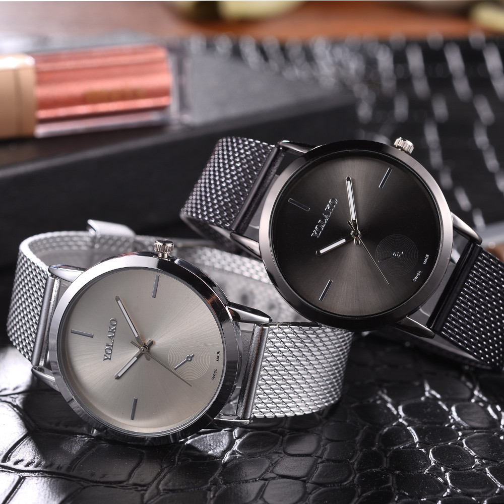 YOLAKO Luxury Brand Women Watches High Hardness Glass Mirror Men And Women General Mesh Belt Woman Wristwatch uhren damen #N03