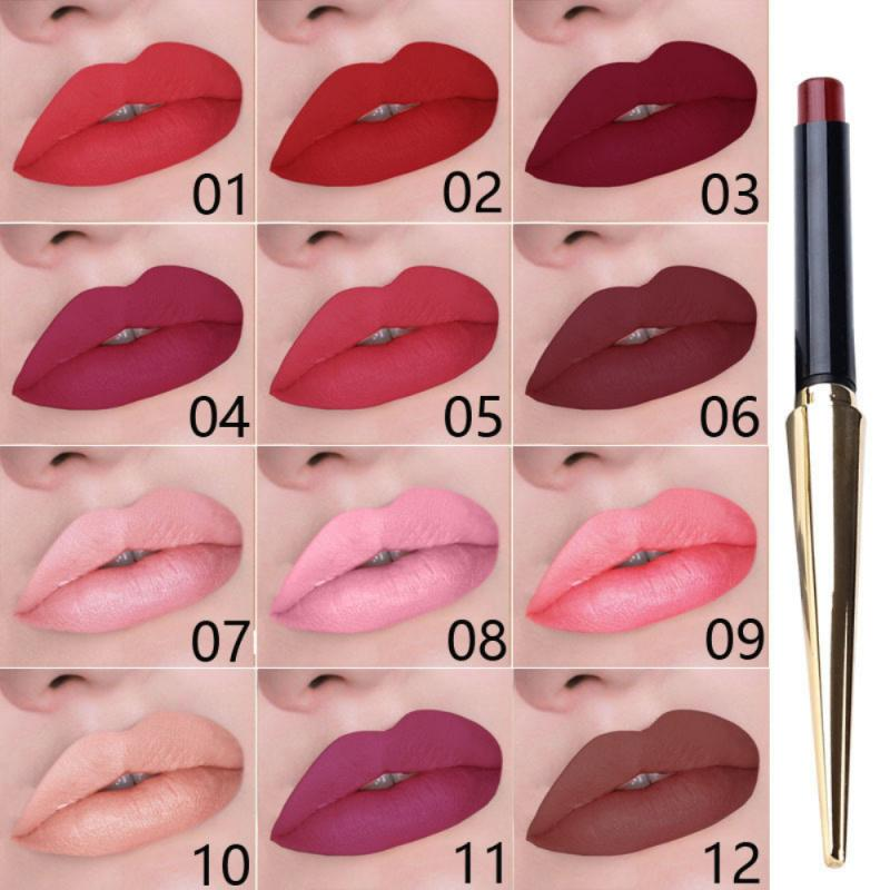 CmaaDu <font><b>12</b></font> Colors Matte Lipstick Waterproof Lasting Fashion Lip Gloss Makeup Nude Matte Velvet Glossy Lip Balm <font><b>Sexy</b></font> Red Lip Tint image