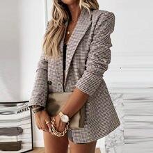 Blazer moda feminina malha manga longa auto cultivo blazer casaco senhoras vintage tweed ternos jaquetas de escritório formal jaquetas