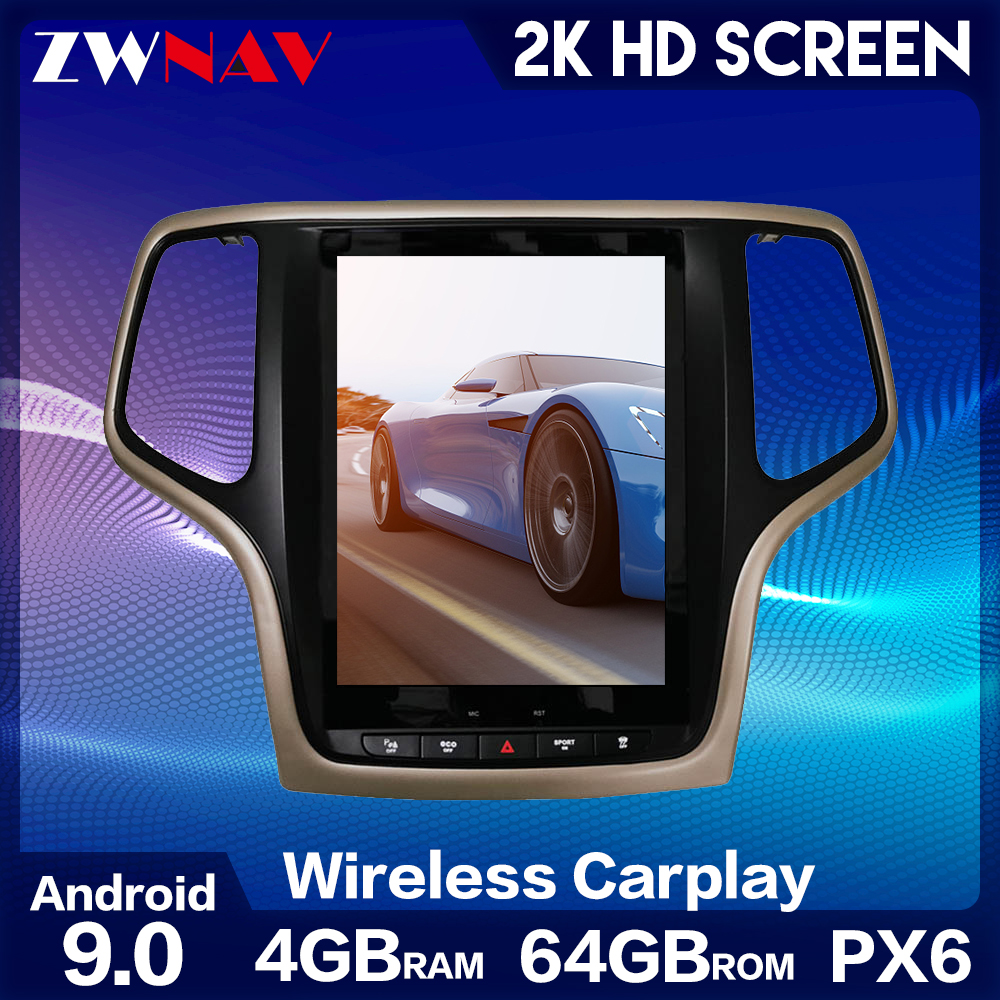 ZWNAV Tesla Style Vertical screen Android 9 Car GPS Navigation For Jeep Grand Cherokee 2014-2018 Multimedia player Stereo Radio image