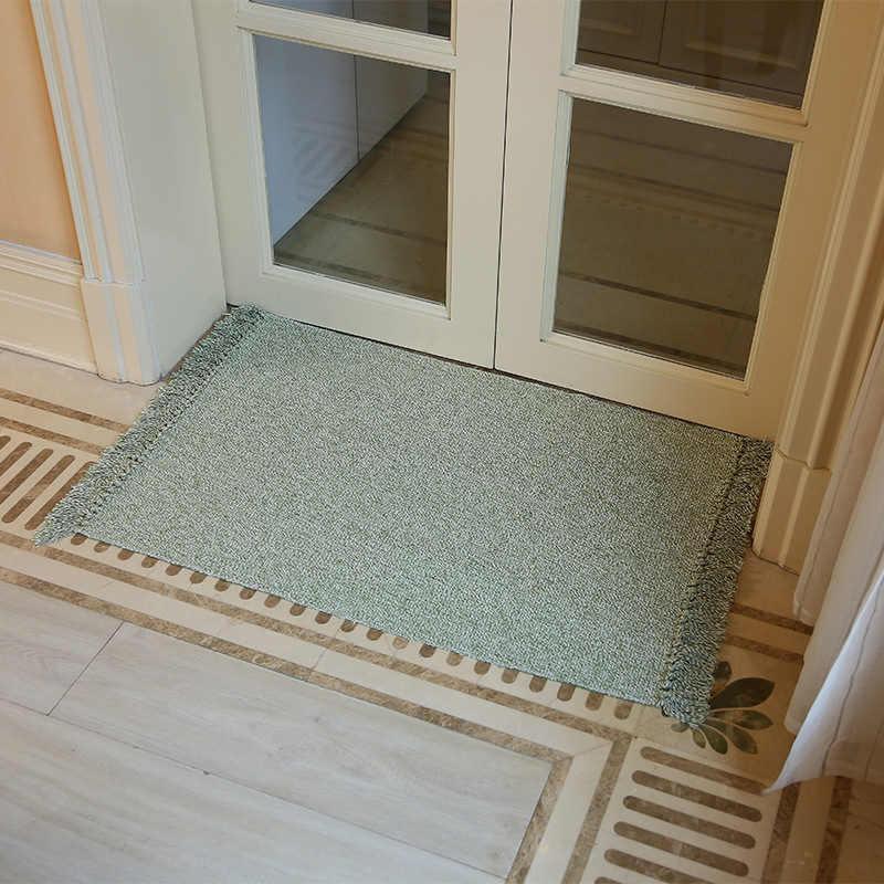 レトロ手織コットンリネンカーペット房ベッドサイドラグカーペット幾何床マットリビングルーム寝室の家の装飾 2 サイズオプション