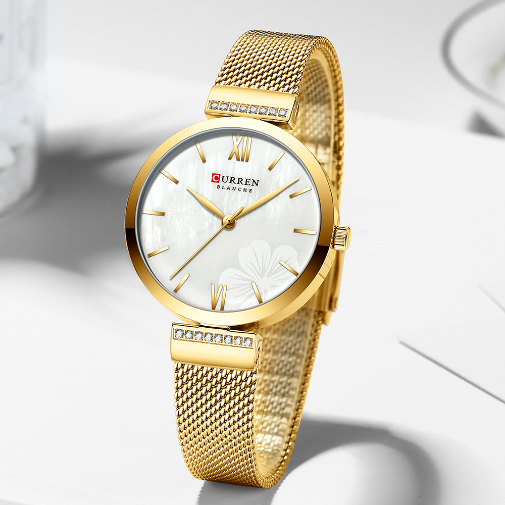 Gold Wristwatch Mesh Ladies Watches Luxury Brand CURREN Elegant Simple Quartz Watch Women's Bracelet Clock Female Reloj Mujer