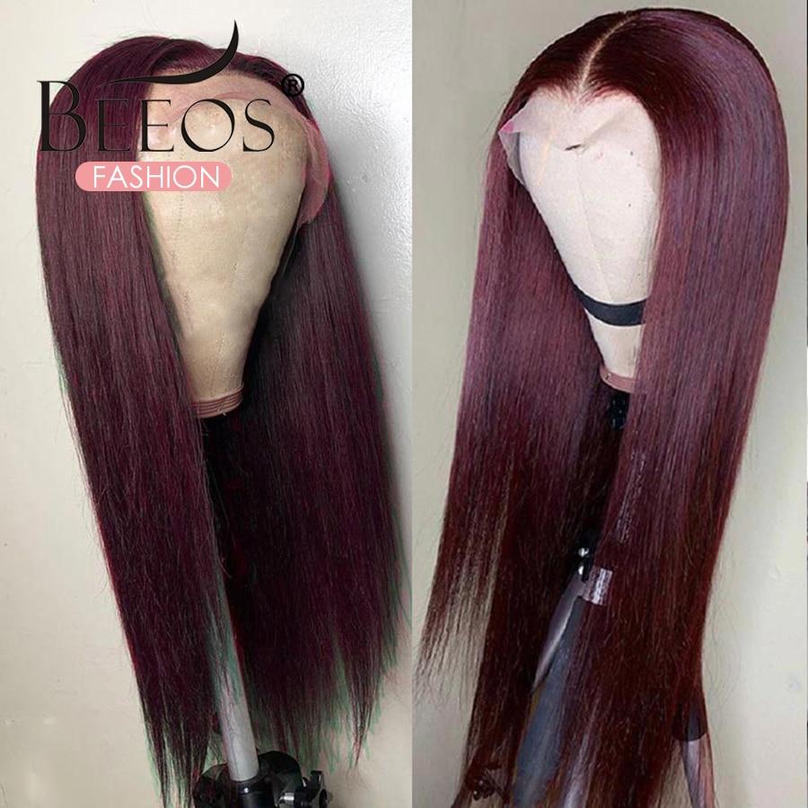 Cabelo reto 13x6 peruca dianteira do laço perucas de cabelo humano 99j borgonha pre-arrancadas 180% remy cabelo parte profunda perucas para as mulheres brasileiras