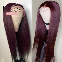 Прямые волосы 13X6, парик из человеческих волос на сетке спереди, 99J, бордовые предварительно выщипанные 180% волосы Remy, парики с глубокой частью...