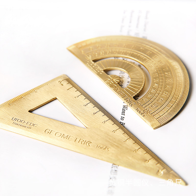 TUTU Vintage Brass Ruler Triangle Ruler Protractor Measure Tools, 12cm 15cm 18cm Ruler Kawaii Stationery Accessories H0432