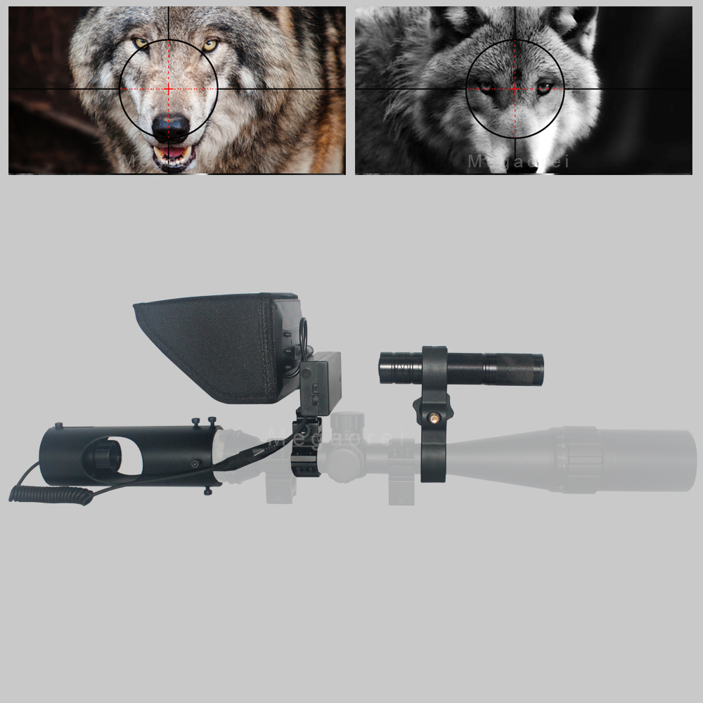 Best Sniper Outdoor Hunting Optic Sight Tactical Riflescope Infrared flashlight with LCD night vision For scope title=
