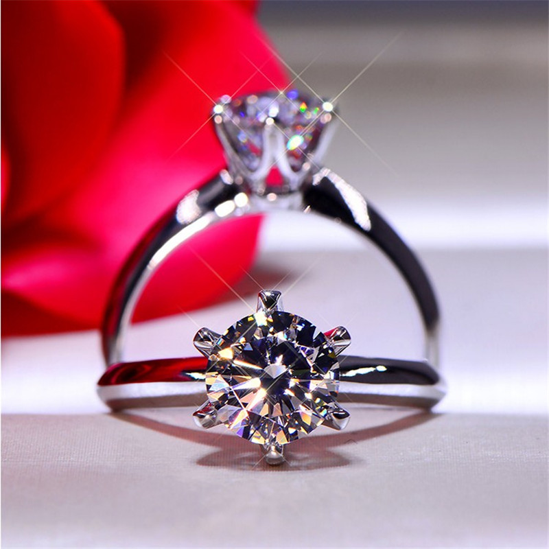Solitaire 7mm Lab Diamond Ring Real 925 Sterling Silver Engagement Wedding Band Rings For Women Men Moissanite Party Jewelry