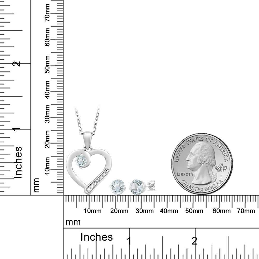 1.74 Ct Acquamarina e Accent Diamante 925 Sterling Silver Orecchini di Pendente Set