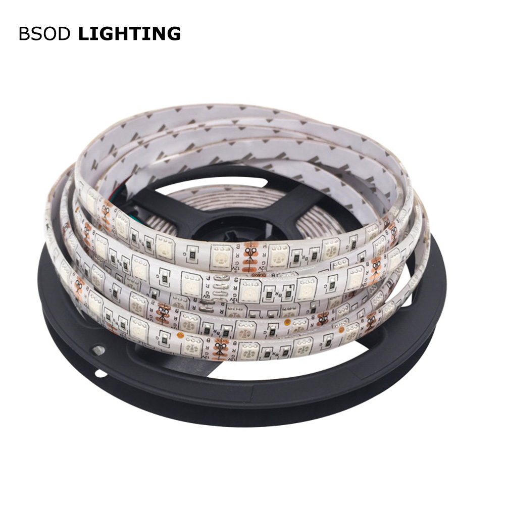 BSOD 5M Led Strip Lights SMD 5050 LED Chip IP65 Waterproof 300ledsroll DC12V Sinle Color RGB Tape Flexible Strip 16.4ft/roll