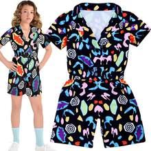 Onze meninas cosplay traje estranho coisas temporada 3 11 macacão terno juniors playsuit topo do miúdo traje de halloween para crianças