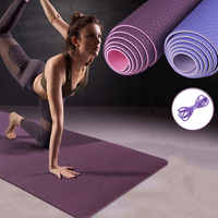 Esterilla antideslizante de TPE para Yoga, tapetes deportivos de 6MM para Fitness, Pilates, gimnasio, con bolsa de Yoga, 183x61cm, X142A