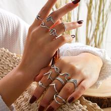 13pcs / set Bohemian Mixed Silver Color Cactus Infinite Sea Wave Moon Geometric Ring Set Women Banquet Party Jewelry Accessories рик янси 5th wave the infinite sea