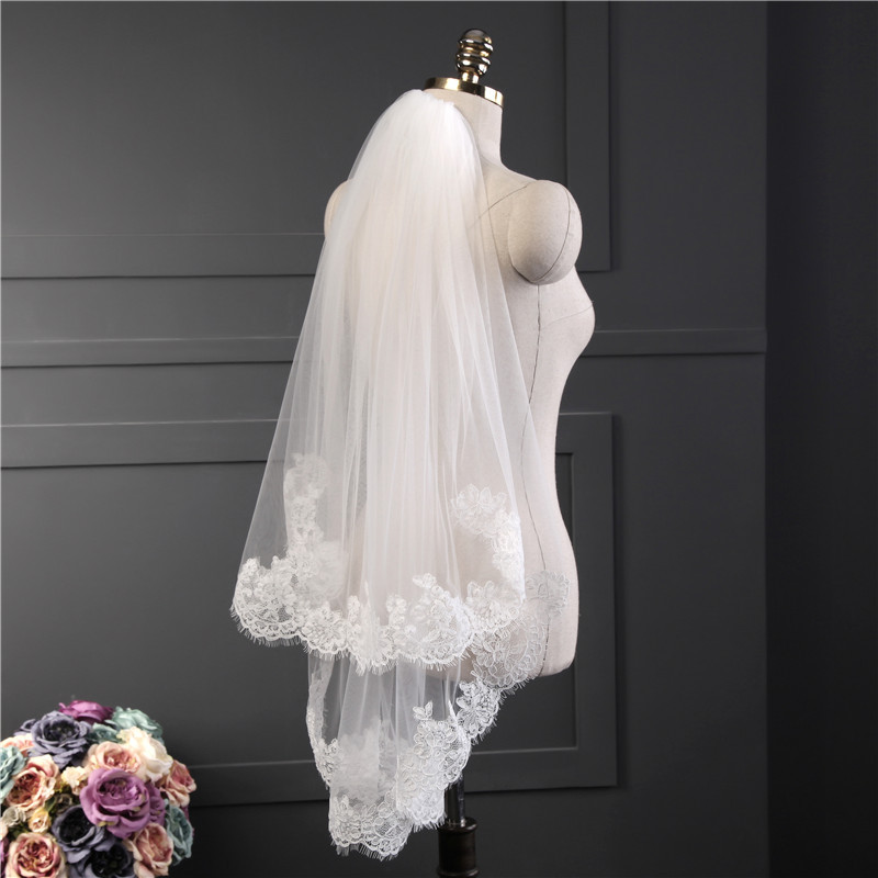 Hl47 Hongling Veil France Lace New Style Shuang Ceng Dai Comb Short Bride Veil Refers To Long-Form Veil