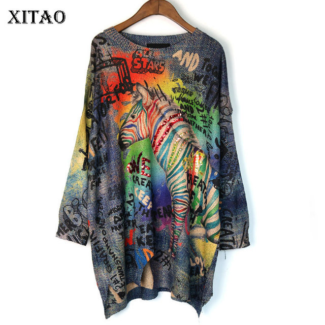 XITAO Tide Letter Print Sequin Sweater O Neck Long Sleeve Fashion Loose Casual Plus Size Top Women 2019 Autumn New Korea WQR1966